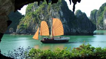 Ha long bay viet nam landscapes nature ships wallpaper