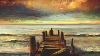 Lonely multicolor paintings scenic sea wallpaper
