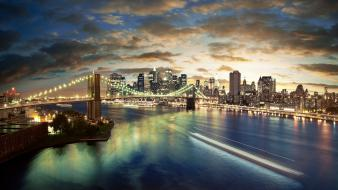 New york city bridges cityscapes long exposure wallpaper
