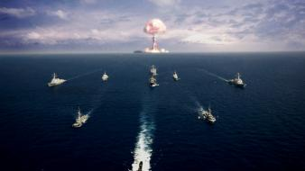 Nuclear explosions sea ships wallpaper