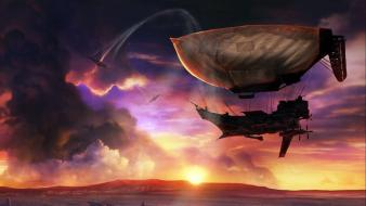 Sun clouds science fiction steampunk wallpaper