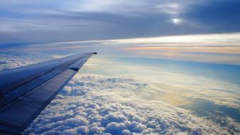 Aircraft clouds skyscapes wings wingview wallpaper