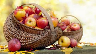 Apples autumn baskets fallen leaves fruits Wallpaper