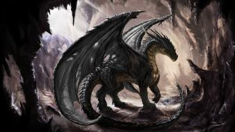 Artwork caves digital art dragons fantasy Wallpaper