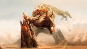 Artwork fantasy art fight giant monsters wallpaper