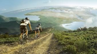 Bicycles cycling nature scenic travel wallpaper