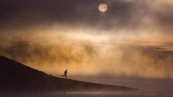 California moon fog lakes running wallpaper