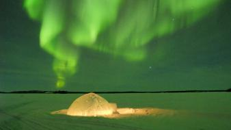 Canada igloo aurora borealis wallpaper