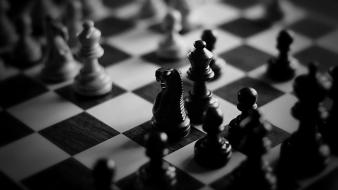 Chess grayscale wallpaper