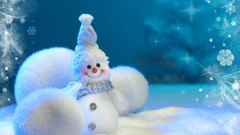 Christmas happy little snowman snowmen Wallpaper