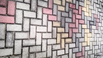 Colors cubism stones wall wallpaper