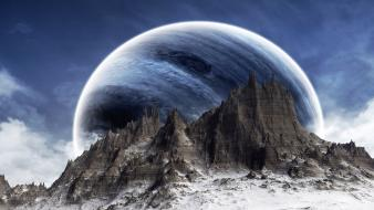 Fantasy art mountains outer space planets wallpaper