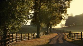 Fences fields landscapes paths rural wallpaper