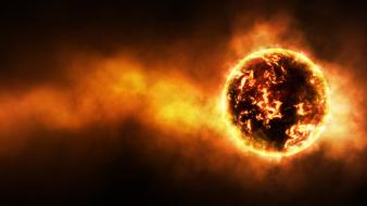 Fire fireball glow outer space planets wallpaper