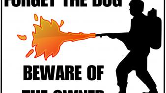 Flamethrower funny warning wallpaper