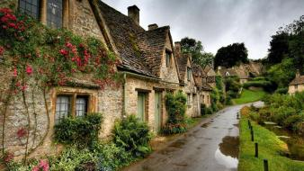Flowers grass houses nature old Wallpaper