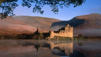 Kilchurn castle scotland castles landscapes reflections wallpaper