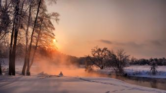 Landscapes nature rivers snow sunset wallpaper
