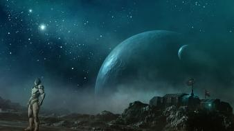 Machines moons outer space planets robots wallpaper