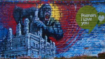 Poznan gorillas graffiti love wall wallpaper