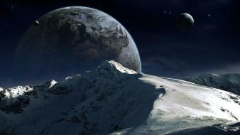 Qauz mountains outer space planets science fiction wallpaper