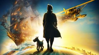 The adventures of tintin aircraft movies ships snow wallpaper