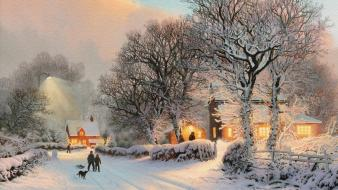 Thomas kinkade artwork nature paintings snow wallpaper