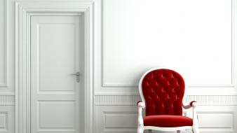 3d architecture chairs doors room wallpaper