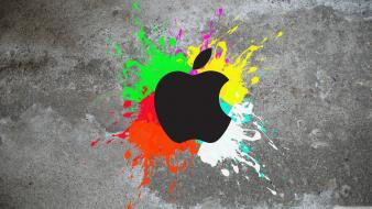Abstract apples multicolor paint wall wallpaper