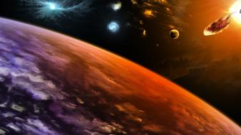 Abstract fantasy art planets space stars wallpaper