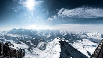 Alps sun clouds interfacelift landscapes Wallpaper