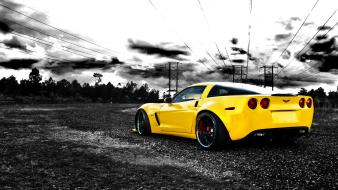 American cars chevrolet corvette selective coloring wallpaper