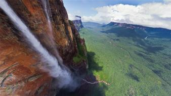 Angel falls cliffs clouds forests landscapes wallpaper