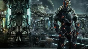 Armored suit dystopia futuristic police science fiction wallpaper