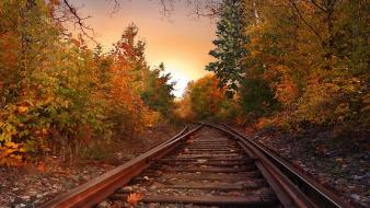 Autumn landscapes nature railroad tracks skylines Wallpaper