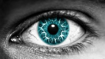 Azure eyes grayscale selective coloring turquoise wallpaper
