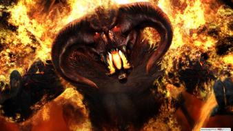 Balrog the lord of rings demons fire wallpaper