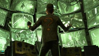 Batman arkham city the riddler question marks screens wallpaper