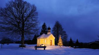 Bavaria christmas germany chapel little Wallpaper
