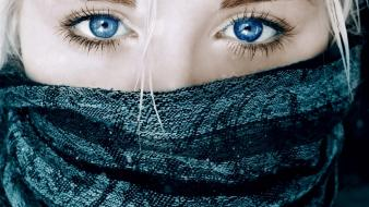 Blondes blue eyes faces masks Wallpaper
