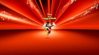 Disney company mickey mouse cartoons red background wallpaper