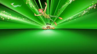 Disney company peter pan cartoons green background sparkles wallpaper