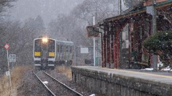 Fukushima japan snow trains wallpaper