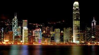 Hong kong victoria harbour city lights cityscapes harbours wallpaper
