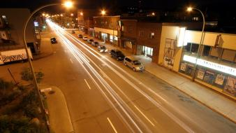 Light trails long exposure roads streets wallpaper