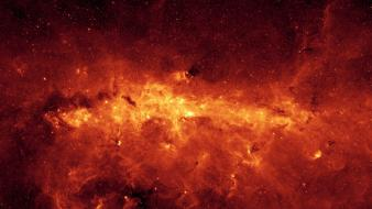 Milky way nebulae orange outer space stars wallpaper