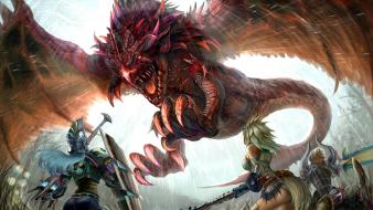 Monster hunter rathalos creatures fantasy art video games Wallpaper