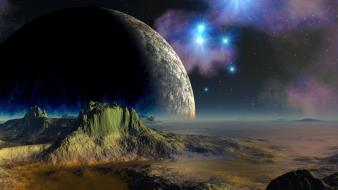 Moon abstract fantasy art mountains outer space wallpaper