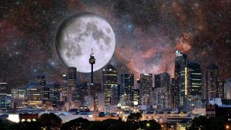 Moon sydney cityscapes photo manipulation wallpaper