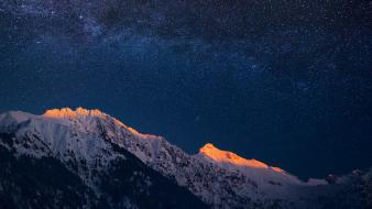 Mountains nature night sky snow Wallpaper